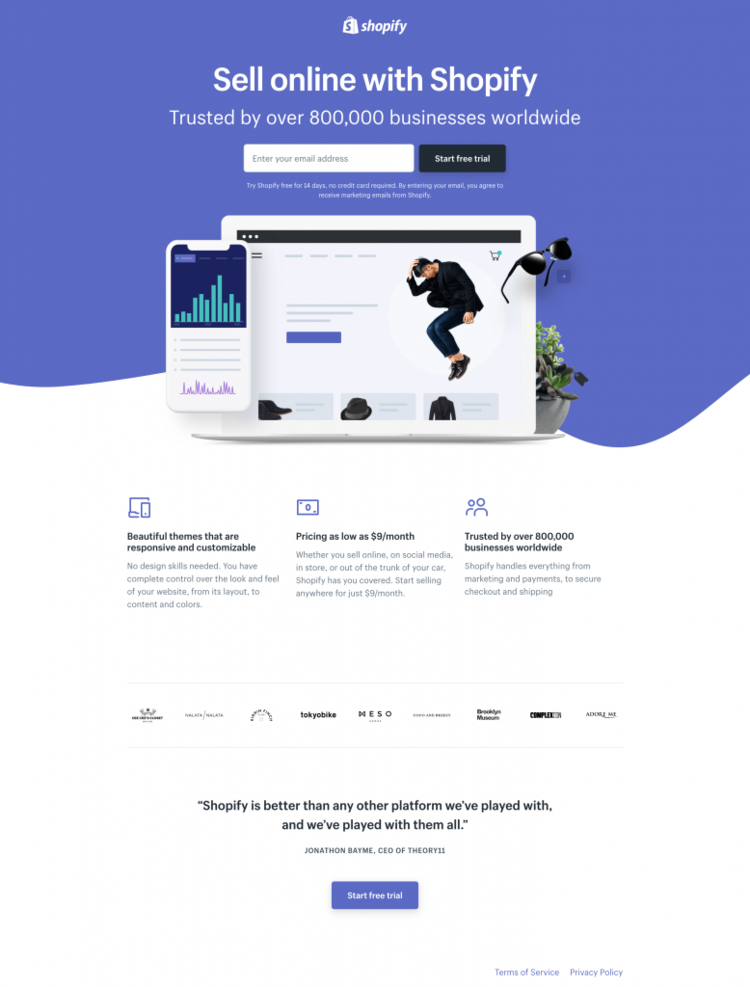 How to recreate the Shopify landing page look and feel in Ontraport
