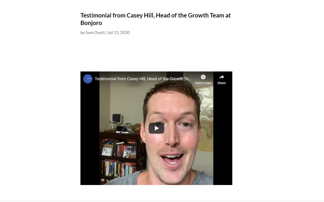 Testimonial from Casey Hill, Head of the Growth Team at Bonjoro